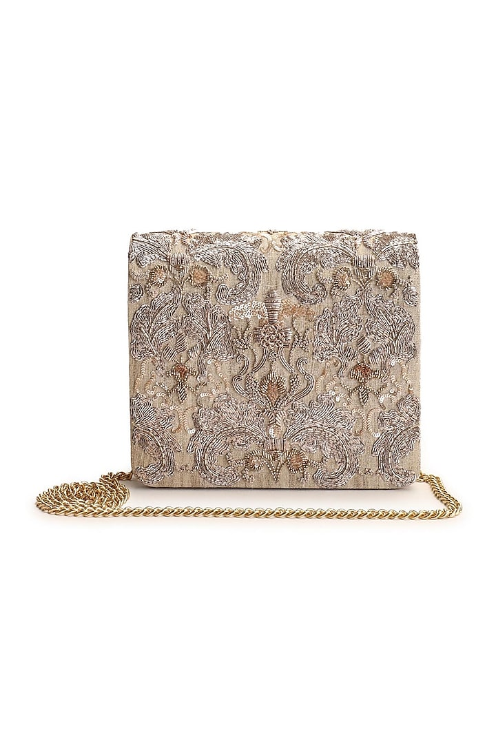 Rose Gold Hand Embroidered Clutch by The Purple Sack