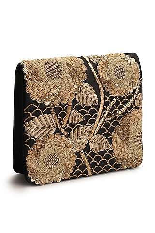Gold & Black Hand Embroidered Clutch by The Purple Sack
