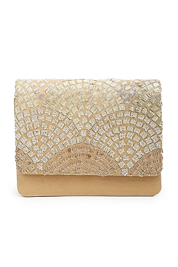 Gold Sequins Hand Embroidered Clutch by The Purple Sack