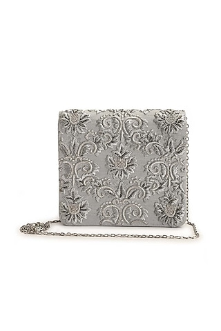 Silver Hand Embroidered Clutch by The Purple Sack