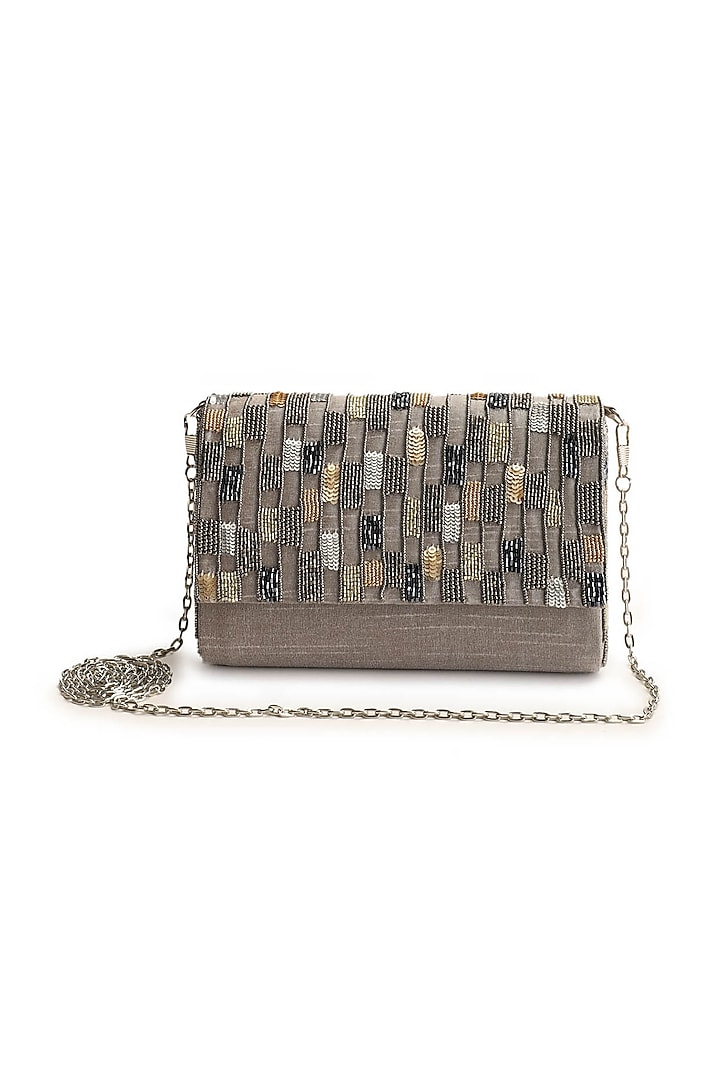 Grey Hand Embroidered Clutch by The Purple Sack