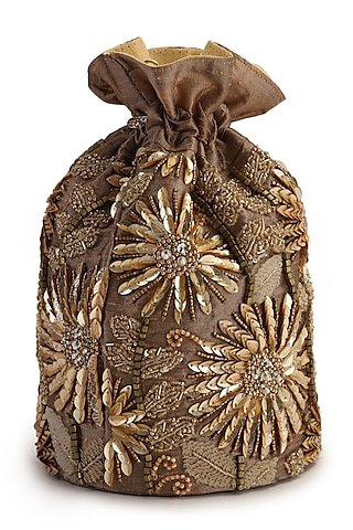 Bronze Hand Embroidered Potli by The Purple Sack