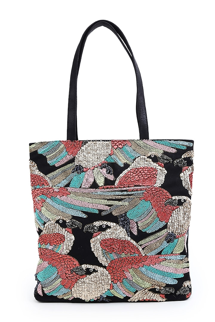 Multi Colored Hand Embroidered Tote Bag by The Purple Sack