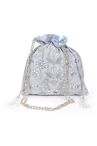 Silver Hand Embroidered Potli by The Purple Sack