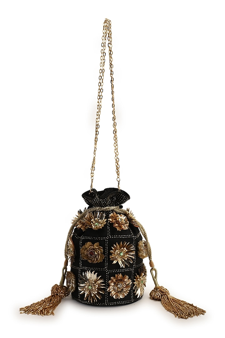 Black Hand Embroidered Potli by The Purple Sack