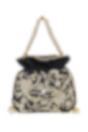Black Hand Embroidered Potli With Sling Chain by The Purple Sack