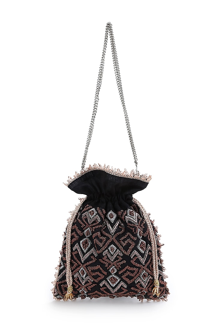 Black Hand Embroidered Potli With Detachable Sling Chain by The Purple Sack