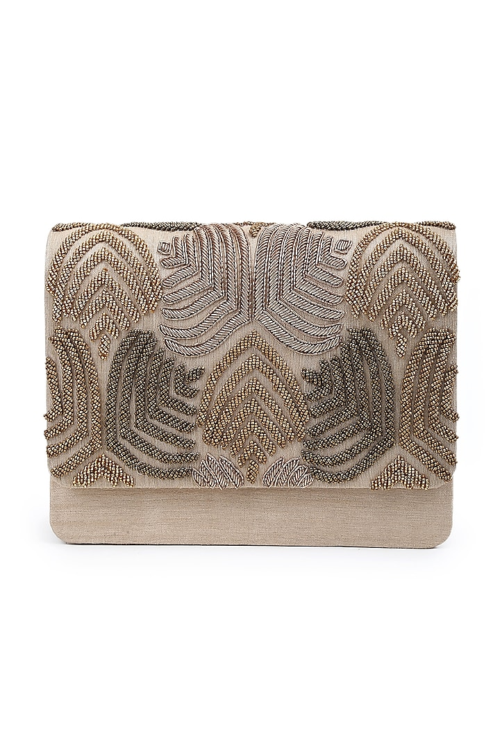 Gold Hand Embroidered Clutch by The Purple Sack