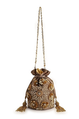 Gold Hand Embroidered Potli With Detachable Sling Chain by The Purple Sack