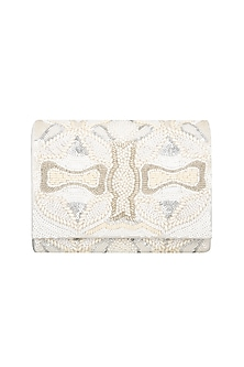 White Hand Embroidered Clutch  by The Purple Sack