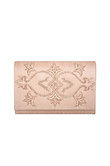 Peach Hand Embroidered Clutch  by The Purple Sack