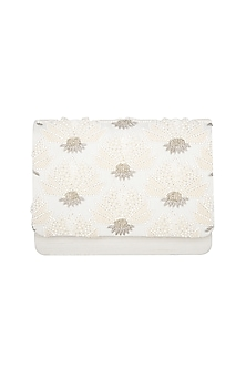 Pearl White Hand Embroidered Clutch  by The Purple Sack