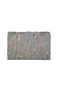 Grey Metallic Embroidered Clutch by The Purple Sack