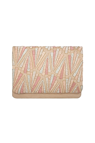 Multi Colored Dabka Embroidered Clutch by The Purple Sack