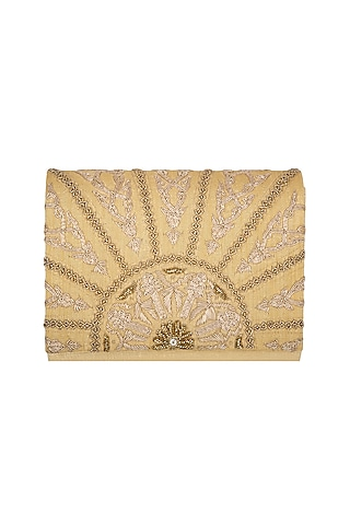 Golden Hand Embroidered Clutch by The Purple Sack