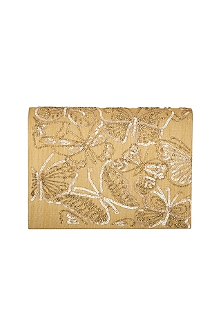 Golden Sequins Embroidered Clutch by The Purple Sack