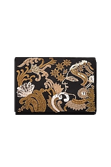 Black & Golden Embroidered Clutch by The Purple Sack