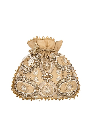 Golden Embroidered Potli by The Purple Sack