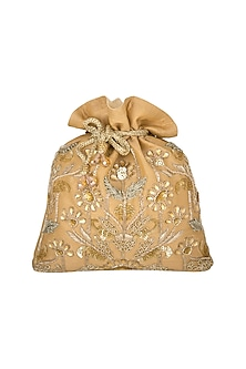 Golden Floral Embroidered Potli by The Purple Sack
