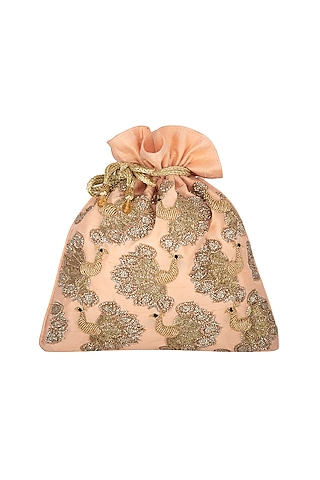 Peach Peacock Embroidered Potli by The Purple Sack