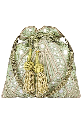 Mint Green Hand Embroidered Potli Bag by The Pink Potli