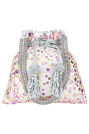Ivory and Multi-Colour Hand Embroidered Potli Bag by The Pink Potli