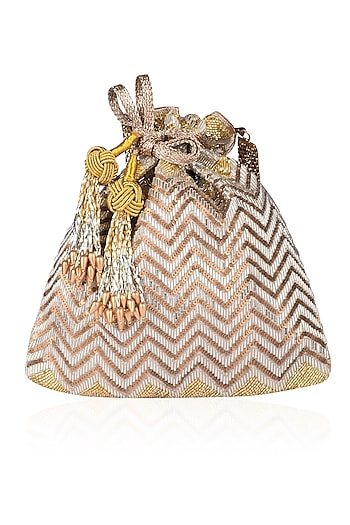 Silver and Gold Zig Zag Embroidered Potli Bag by The Pink Potli