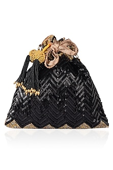 Black Tube Work and Sequins Potli Bag by The Pink Potli