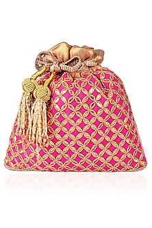 Pink Gota Patti and Beads Potli Bag by The Pink Potli