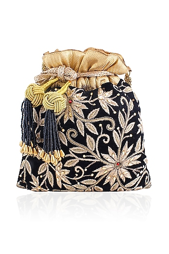 Black Peetha Zardozi Work Velvet Potli Bag by The Pink Potli