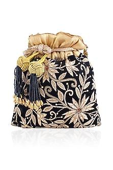 Black Peetha Zardozi Work Velvet Potli Bag by The Pink Potli