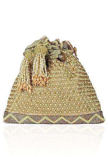 Gold Cut Daana and Pearl Work Brocade Potli Bag by The Pink Potli