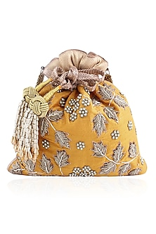 Mustard Hand Embroidered Zardozi and Pearl Brocade Potli Bag by The Pink Potli