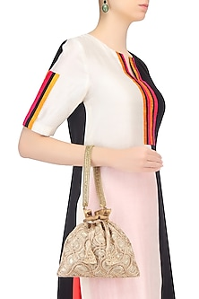 Gold Zardozi and Stone Work Potli Bag by The Pink Potli