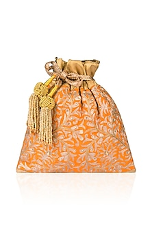 Burnt Orange Peetha Zardozi Work Brocade Potli Bag by The Pink Potli