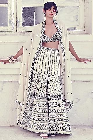 Ivory georgette Embroidered Sharara Set by Tamanna Punjabi Kapoor