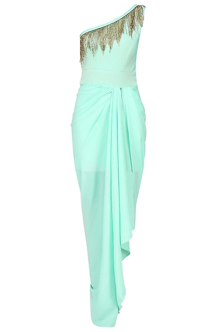 Seafoam One Shoulder Tasseled Gown by Tanya Patni
