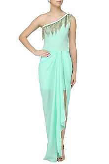 Seafoam One Shoulder Tasseled Gown by Tanya Patni