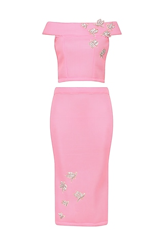 Pink Embroidered Crop Top With Pencil Skirt Set by Tanya Patni
