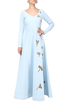Blue Dragonfly Embroidered Anarkali by Tanya Patni