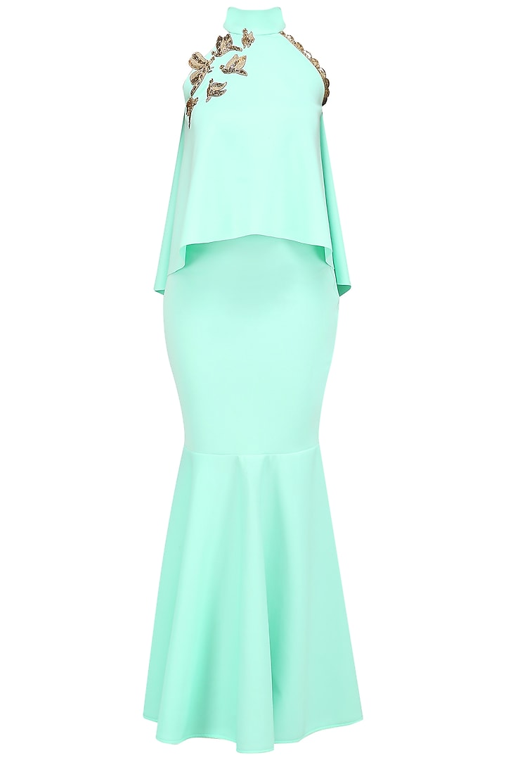 Seafoam Embroidered Crop Top and Skirt by Tanya Patni