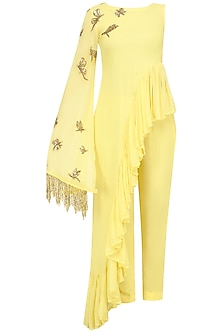 Soft Yellow Frilled Peplum Tunic and Pants by Tanya Patni