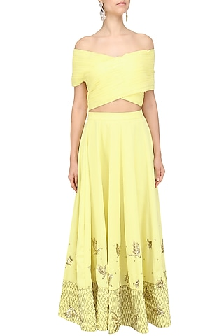 Soft Yellow Off Shoulder Crop Top and Pleated Skirt Set by Tanya Patni