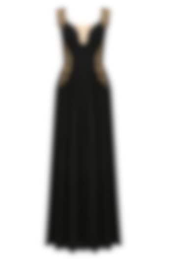 Black onyx sweetheart neck jumpsuit by Tanya Patni