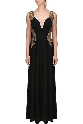 Black onyx sweetheart neck jumpsuit by Tanya Patni