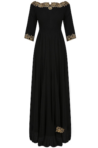 Black boatneck dabka embroidered anarkali by Tanya Patni
