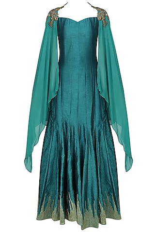 Teal skyfall zardozi embroidered cape shoulder sleeves by Tanya Patni