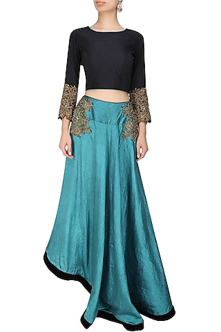 Black dabka embroidered crop top and tapered skirt by Tanya Patni