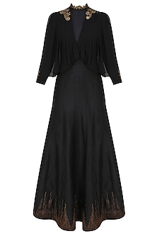 Midnight black cape draped anarkali by Tanya Patni
