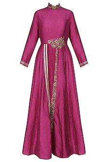 Boysenberry dori front slit kurta and black pencil pants by Tanya Patni